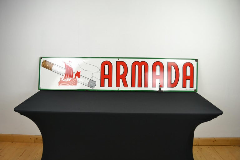 Mid-Century Modern 1963 Porcelain Sign for Cigarettes Armada For Sale