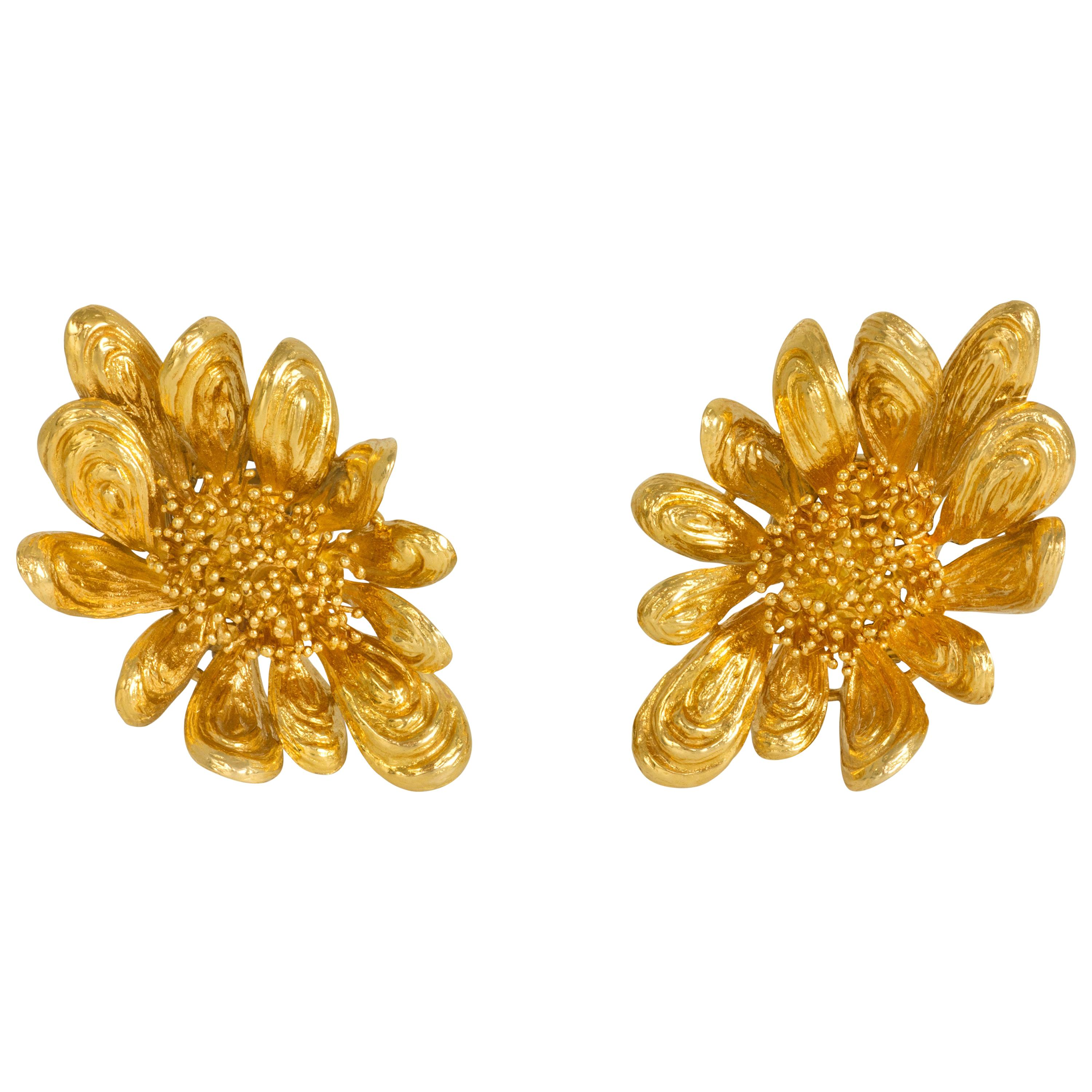 1964 Chaumet Gold Floral Ear Clips