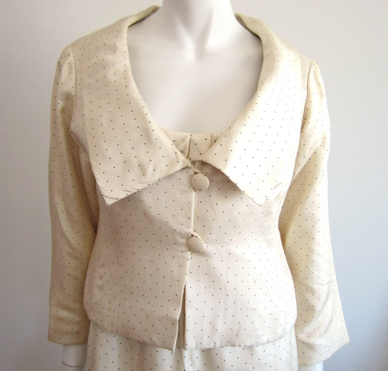 1964 Christian Dior 2 Piece Marc Bohan Dress - Jacket Suit Numbered 123094 In Fair Condition For Sale In Wallkill, NY