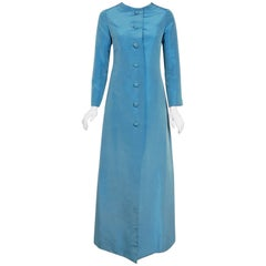 1964 Christian Dior Haute-Couture Blue Silk Faille Full Length Jacket Coat