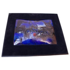 "1964 Madeline Jossem ""City at Dusk"" Framed Enamel on Copper Panel"