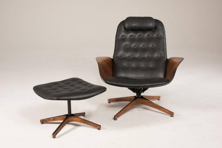 Modern 1964 Mr. Chair II by George Mulhauser for Plycraft and Ottoman For Sale