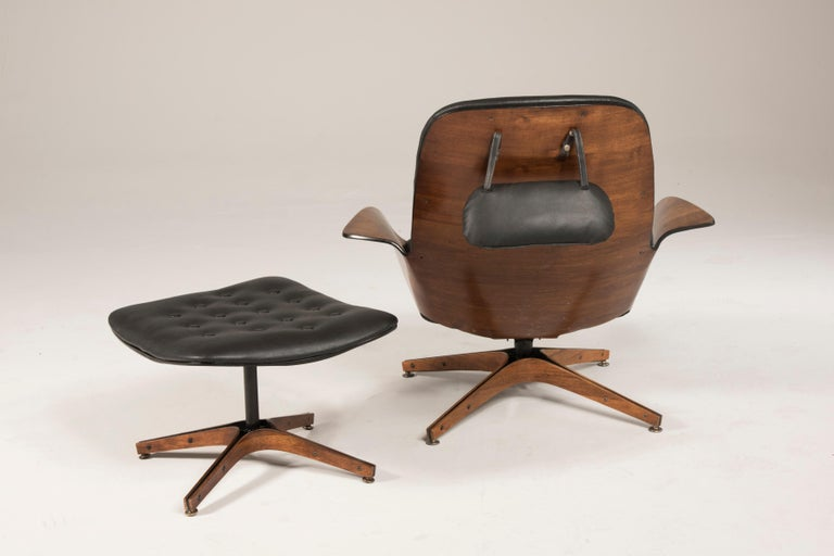 European 1964 Mr. Chair II by George Mulhauser for Plycraft and Ottoman For Sale