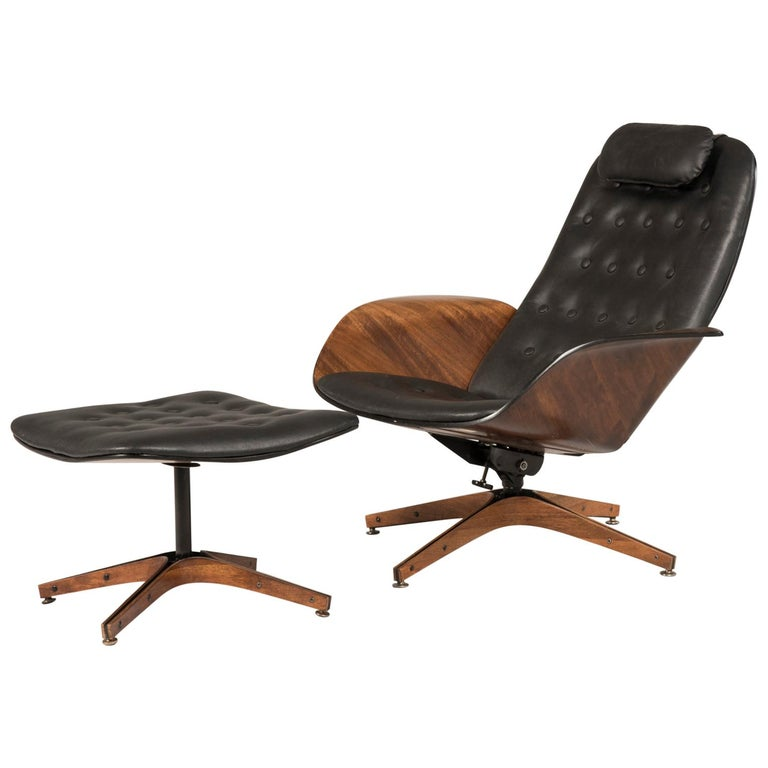 1964 Mr. Chair II by George Mulhauser for Plycraft and Ottoman For Sale