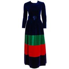 1964 Nina Ricci Couture Silk-Velvet Rainbow Stripe Block Color Belted Maxi Dress