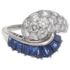 1964 Oscar Heyman Brothers Sapphire Diamond Platinum Ring