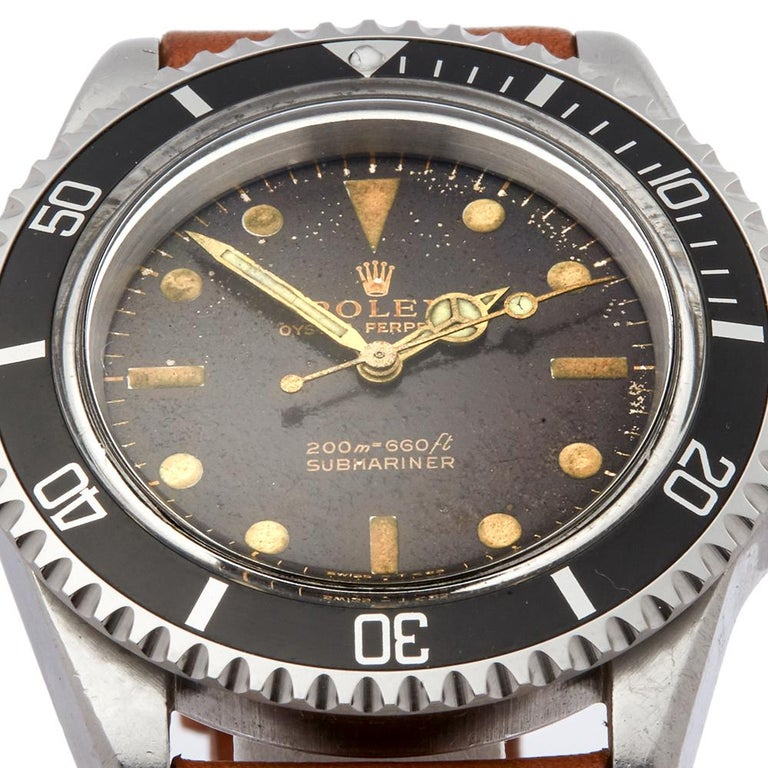 1964 Rolex Submariner Tropical Dial Stainless Steel 5513 Wristwatch In Fair Condition For Sale In Bishops Stortford, Hertfordshire