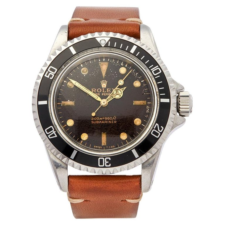 1964 Rolex Submariner Tropical Dial Stainless Steel 5513 Wristwatch For Sale