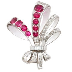 1965 5.75 Carat Ruby and 2.55 Carat Diamond Gold Brooch