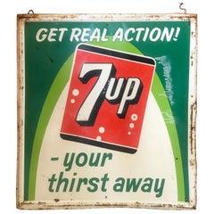 Vintage 1965 7up embossed metal Sign