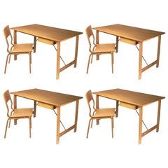 1965 Arne Jacobsen Set of Four Saint Catherines Desk and Chair in Oak