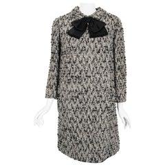 1965 Bill Blass Black & Ivory Textured Wool Dolly-Bow Mod Pockets Coat Dress