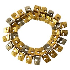 1965 Bjorn Weckstrom Finnish Modern 14 Karat White and Yellow Gold Link Bracelet