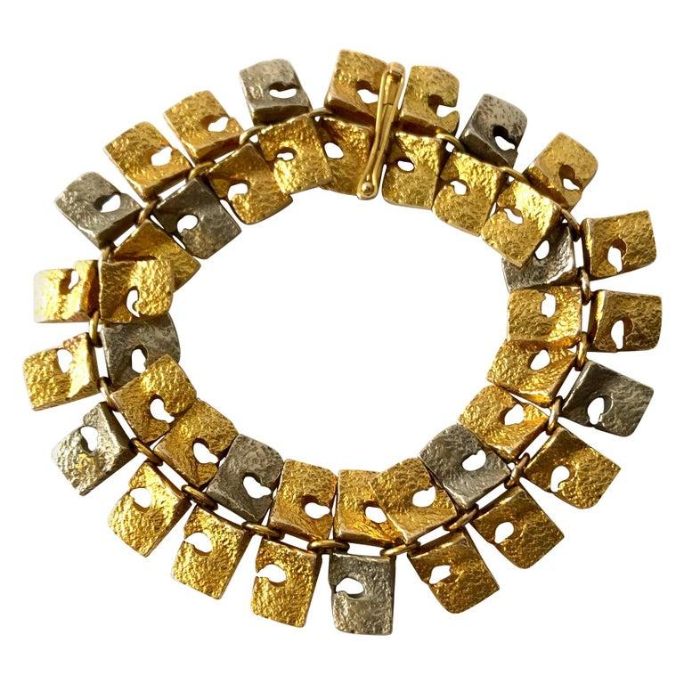 1965 Bjorn Weckstrom Finnish Modern 14 Karat White and Yellow Gold Link Bracelet For Sale