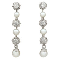1965 Cultured Pearl and 1.09 Carat Diamond White Gold Drop Earrings