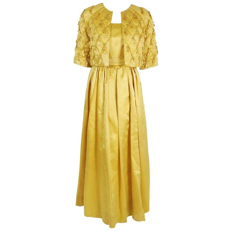 1965 Oscar de la Renta for Jane Derby Yellow Silk Gown & Quilted Tassel Jacket  For Sale