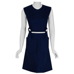 1965 Pierre Cardin Navy Blue Linen Mod Sculpted Pockets Space Age Belted Dress