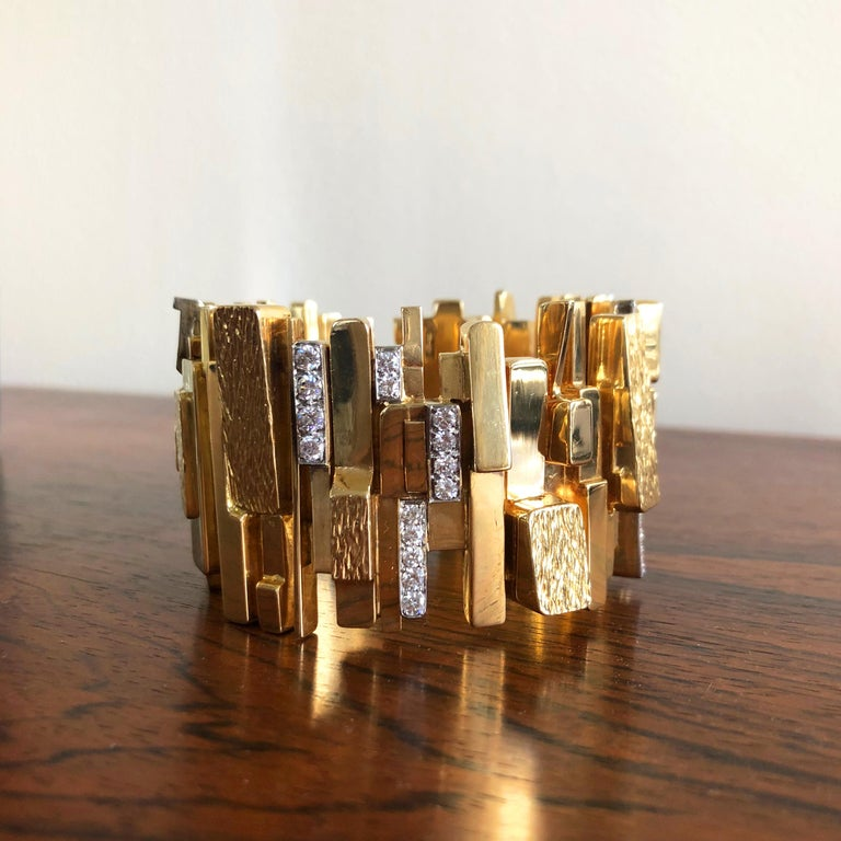 Modernist 1965 Rare Brutalist David Morris Diamond, Yellow Gold and Platinum Wide Bracelet For Sale