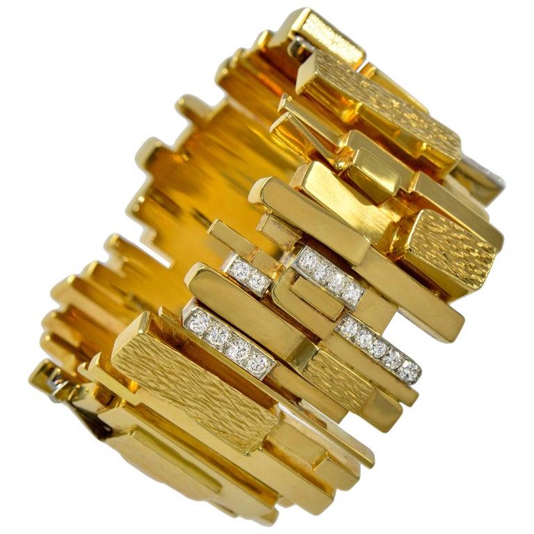 1965 Rare Brutalist David Morris Diamond, Yellow Gold and Platinum Wide Bracelet For Sale