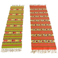 1965 Two Berber Kilim Handwoven Rugs Wool Orange Green White Black, Morocco