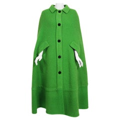Vintage 1966 Christian Dior Haute-Couture Documented Green Wool Full-Length Cape