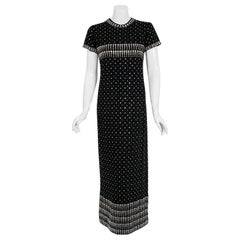 1966 Geoffrey Beene Museum-Held Rhinestone Studded Black Wool Maxi Dress Gown