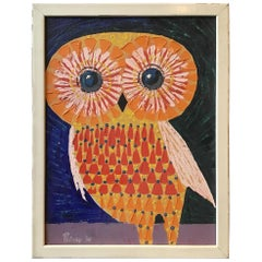 1966 Oil on Canvas of Owl Signed Peircey