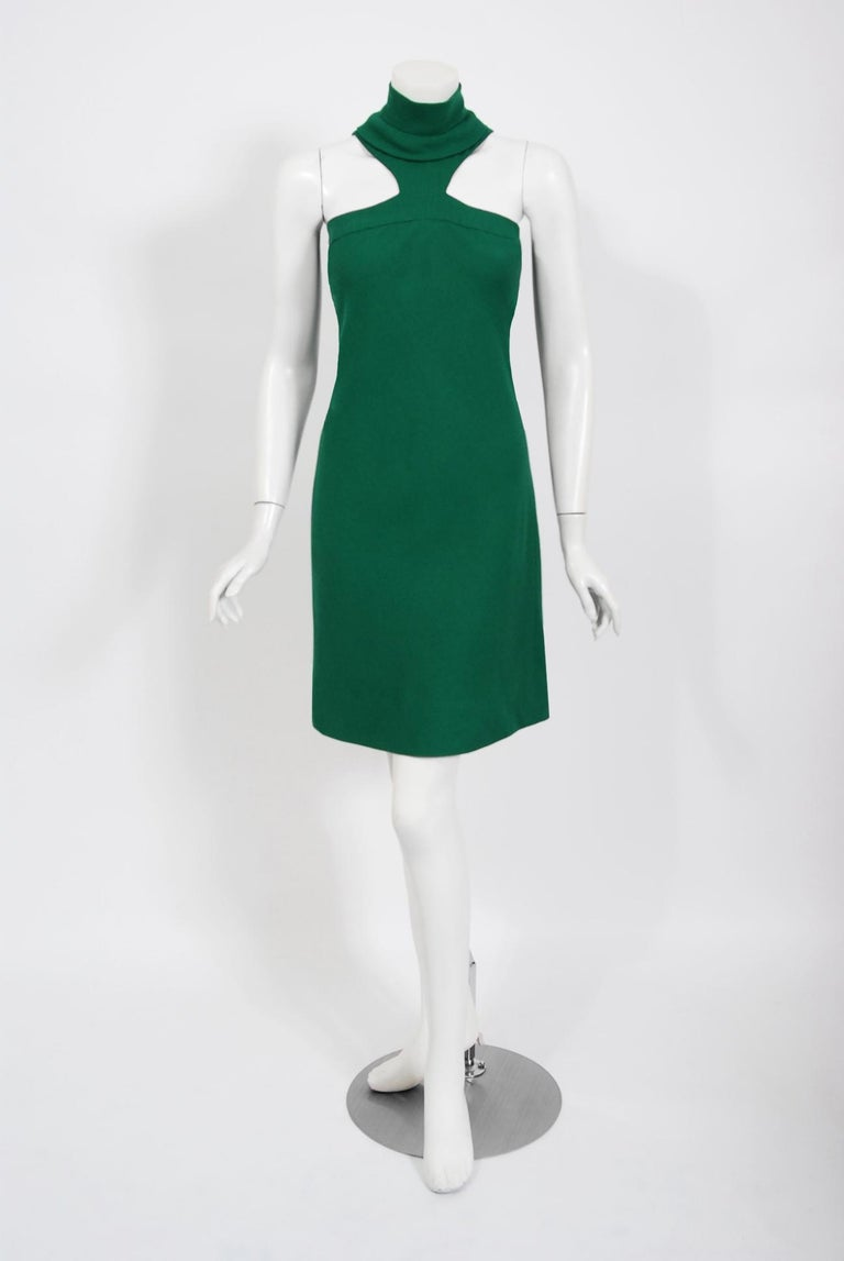 Spectacular Pierre Cardin haute couture designer dress dating back to his 1966 fall-winter collection. In 1951 Cardin opened his own couture house and by 1957, he started a ready-to-wear line; a bold move for a French couturier at the time. The look