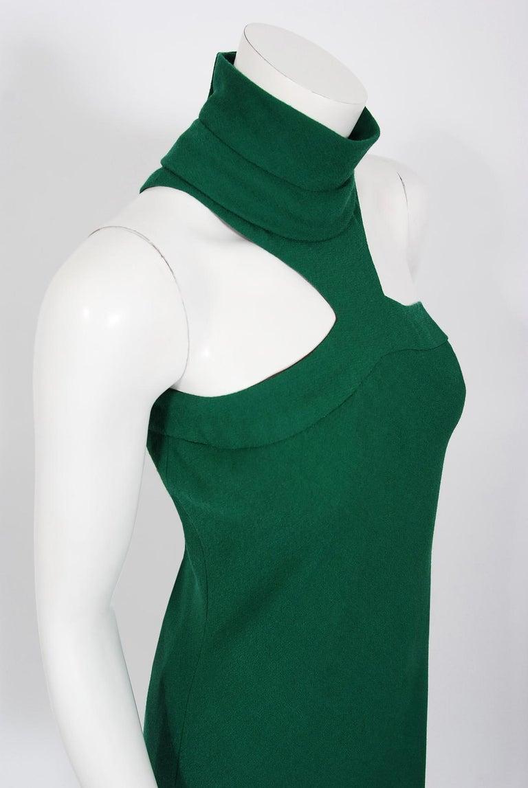 Women's Vintage 1966 Pierre Cardin Haute Couture Documented Green Crepe Turtleneck Dress For Sale