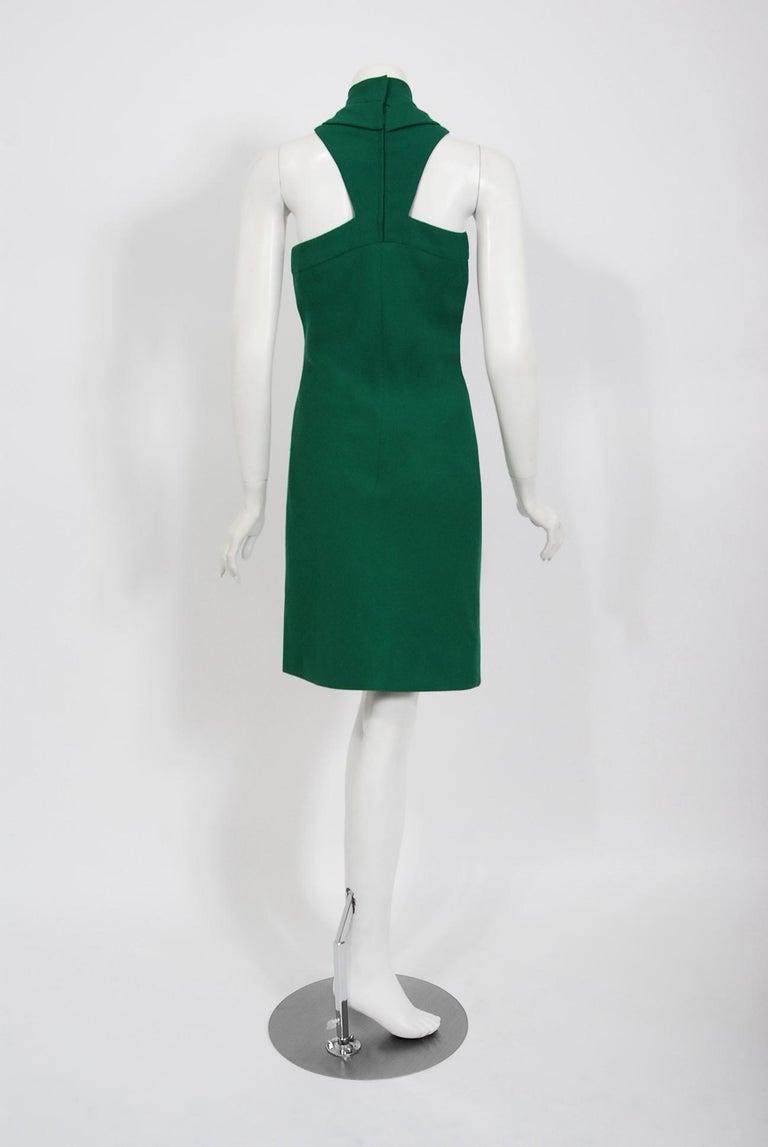 Vintage 1966 Pierre Cardin Haute Couture Documented Green Crepe Turtleneck Dress For Sale 3
