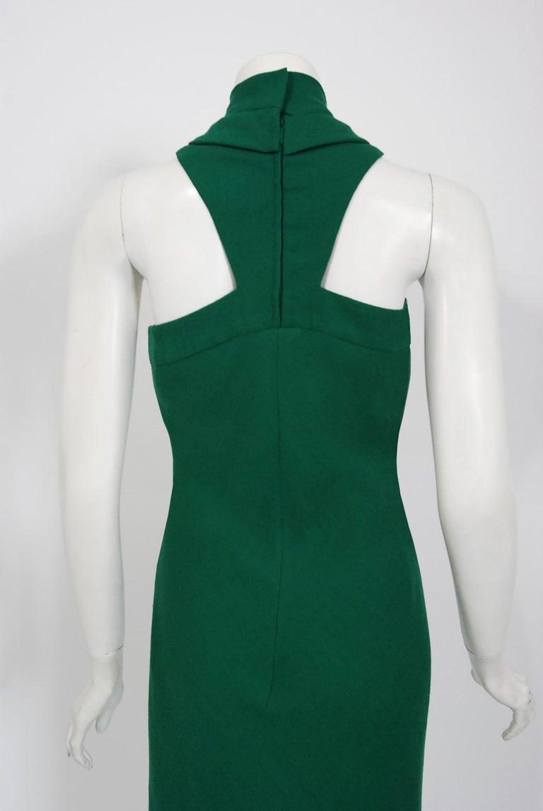 Vintage 1966 Pierre Cardin Haute Couture Documented Green Crepe Turtleneck Dress For Sale 4