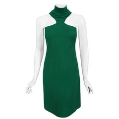 Vintage 1966 Pierre Cardin Haute Couture Documented Green Crepe Turtleneck Dress