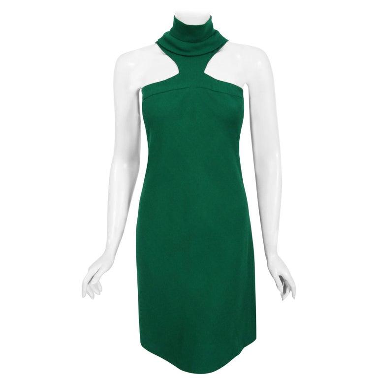 Vintage 1966 Pierre Cardin Haute Couture Documented Green Crepe Turtleneck Dress For Sale