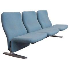 1966, Pierre Paulin, Rare F784, Concorde Three-Seat Couch in Light Blue Fabric