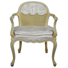 1966 Vintage Hibriten Bernhardt French Provincial Caned Vanity Arm Accent Chair