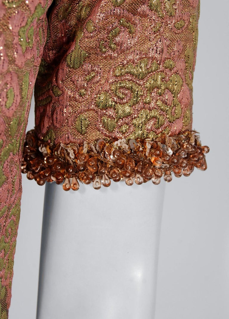 Vintage 1966 Yves Saint Laurent Beaded Metallic Pink Gold Brocade Cocktail Dress In Good Condition For Sale In Beverly Hills, CA