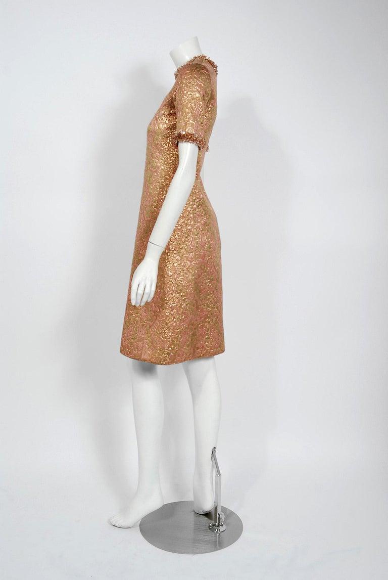 Vintage 1966 Yves Saint Laurent Beaded Metallic Pink Gold Brocade Cocktail Dress For Sale 1