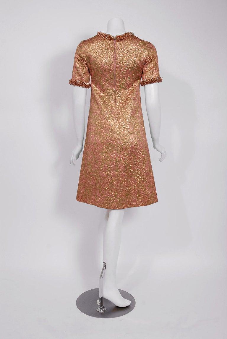 Vintage 1966 Yves Saint Laurent Beaded Metallic Pink Gold Brocade Cocktail Dress For Sale 2