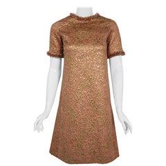 1966 Yves Saint Laurent Paris Beaded Metallic Pink Gold Brocade Cocktail Dress