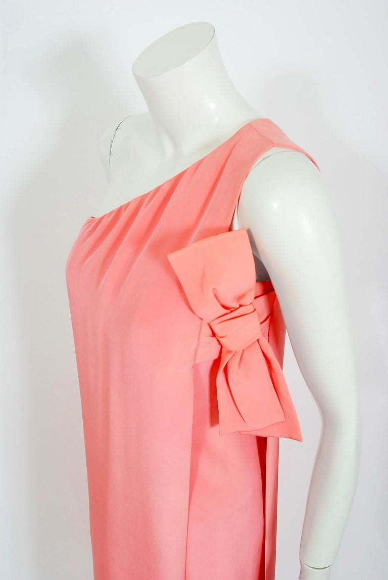 Vintage 1967 Christian Dior Haute Couture Bubblegum Pink Silk One-Shoulder Gown In Fair Condition For Sale In Beverly Hills, CA