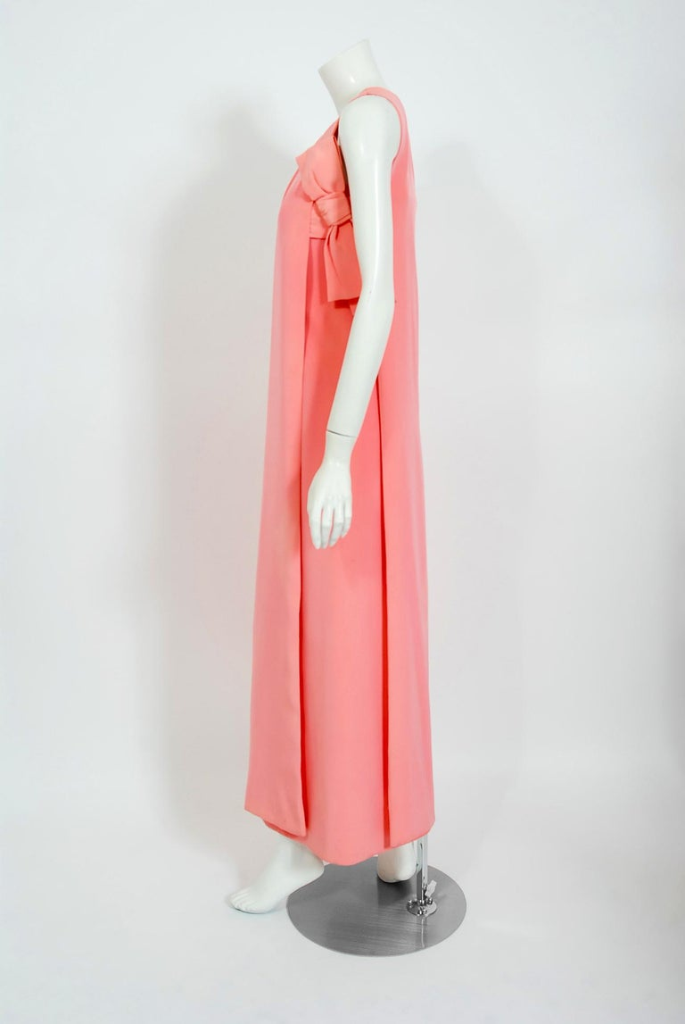 Vintage 1967 Christian Dior Haute Couture Bubblegum Pink Silk One-Shoulder Gown For Sale 1