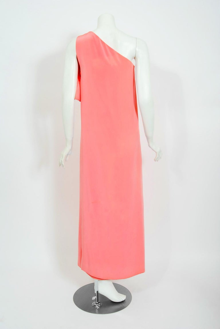 Vintage 1967 Christian Dior Haute Couture Bubblegum Pink Silk One-Shoulder Gown For Sale 2