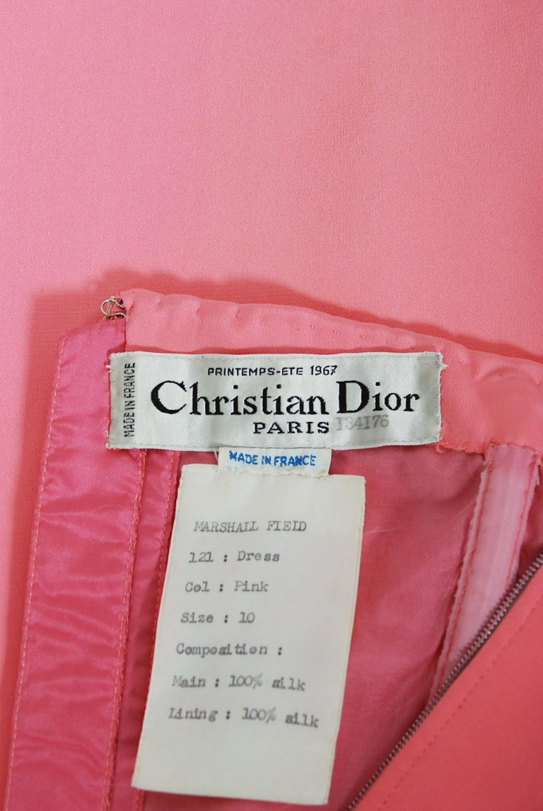 Vintage 1967 Christian Dior Haute Couture Bubblegum Pink Silk One-Shoulder Gown For Sale 3