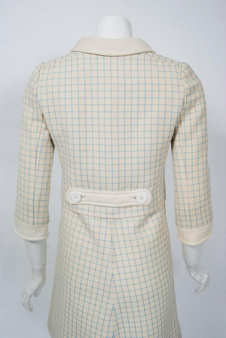 Vintage 1967 Courreges Couture Creme Blue Checkered Wool Mod Dress & Jacket For Sale 5