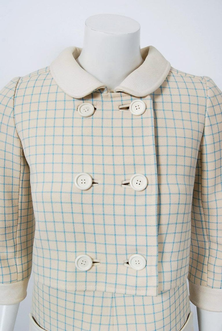 Vintage 1967 Courreges Couture Creme Blue Checkered Wool Mod Dress & Jacket In Good Condition For Sale In Beverly Hills, CA