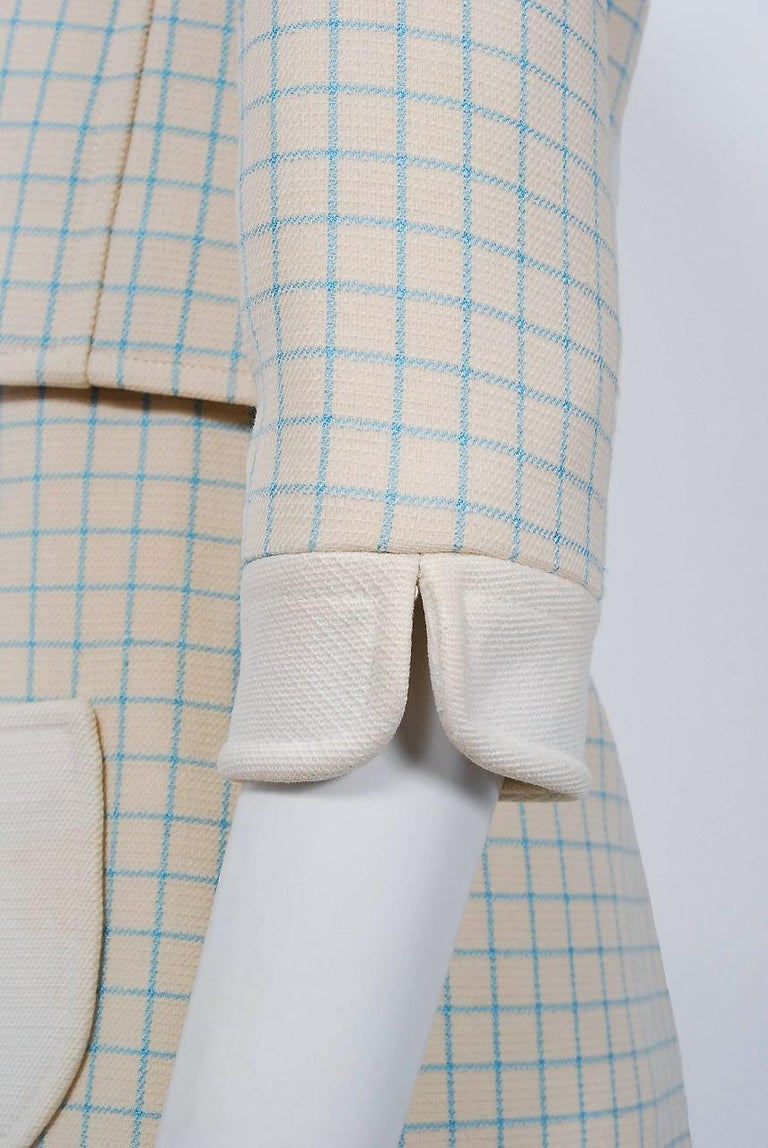 Women's Vintage 1967 Courreges Couture Creme Blue Checkered Wool Mod Dress & Jacket For Sale
