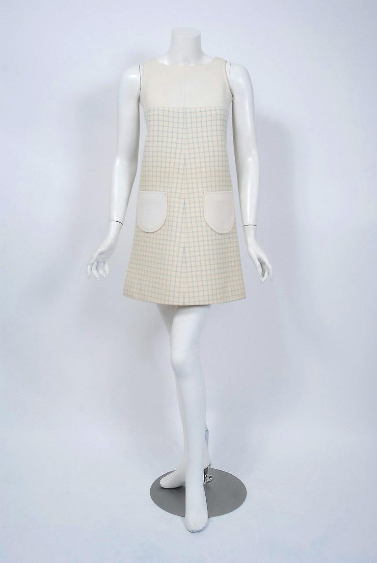 Vintage 1967 Courreges Couture Creme Blue Checkered Wool Mod Dress & Jacket For Sale 1