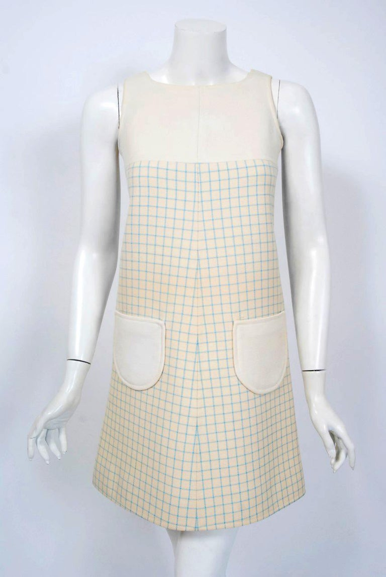 Vintage 1967 Courreges Couture Creme Blue Checkered Wool Mod Dress & Jacket For Sale 2