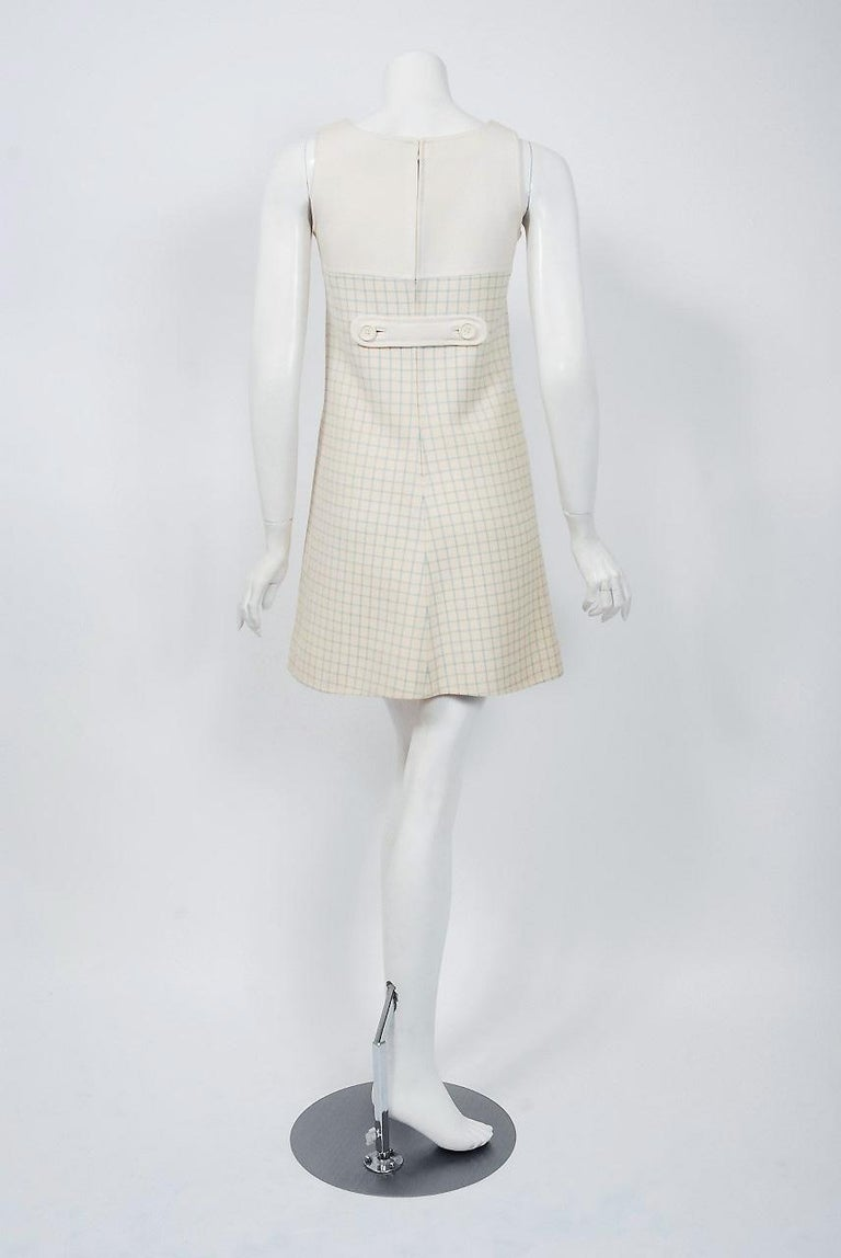 Vintage 1967 Courreges Couture Creme Blue Checkered Wool Mod Dress & Jacket For Sale 4