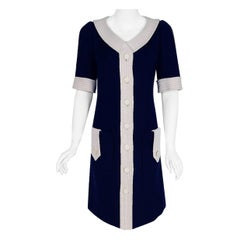1967 Courreges Couture Navy-Blue & White Wool Block Color Mod Space-Age Dress